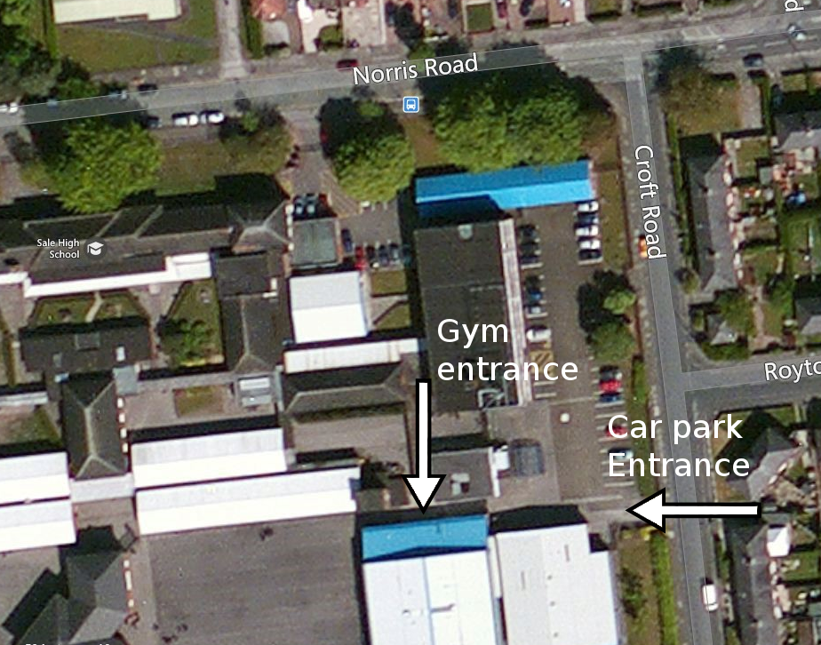 Car park and entrance location.